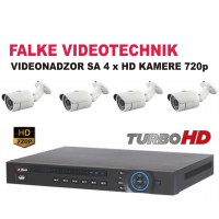 VIDEO NADZOR KOMPLET SA 4 HD KAMERE BULLET 720p